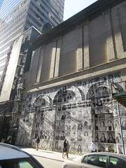 2019 Photo Mural on 45th St Jake Gyllenhaal Play Sea Wall / A Life on Broadway 1774 (Brechtbug) Tags: 2019 photo mural 45th st between 6th 7th aves wall headshots back hudson theater playing sea a life broadway set monologues about duality death recounted by two young fathers second row from bottom is jake gyllenhaal hands up snarling tom sturridge who helped with installation pasting each others likenesses onto french 2017 documentary faces places director agnes varda died march this year age 90 nyc september 09202019 new york city street