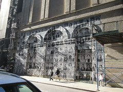 2019 Photo Mural on 45th St Jake Gyllenhaal Play Sea Wall / A Life on Broadway 1770 (Brechtbug) Tags: 2019 photo mural 45th st between 6th 7th aves wall headshots back hudson theater playing sea a life broadway set monologues about duality death recounted by two young fathers second row from bottom is jake gyllenhaal hands up snarling tom sturridge who helped with installation pasting each others likenesses onto french 2017 documentary faces places director agnes varda died march this year age 90 nyc september 09202019 new york city street
