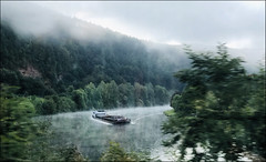 Steaming river seen from the train (na_photographs) Tags: neckar morning morgen fluss wasser schiff ship valley germany