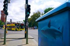 Sharknado (Atreides59) Tags: street art streetart berlin germany allemagne deutschland urban urbain requin shark ciel sky nuages clouds bleu blue jaune yellow bus pentax k30 k 30 pentaxart atreides atreides59 cedriclafrance