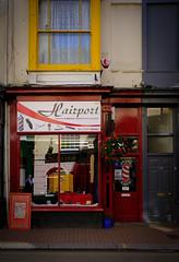 Hairport (Livesurfcams) Tags: ilfracombe street fuji fujifilm barbers reflection devon