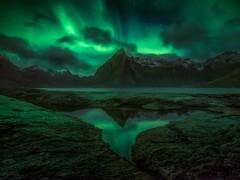 Like Daggers (Ryan Dyar) Tags: astra night reflection northernlights ryandyar vestfjorden hamnoy reine auroraborealis aurora fjord olstinden arctic norway lofoten