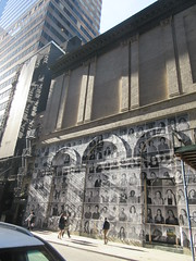 2019 Photo Mural on 45th St Jake Gyllenhaal Play Sea Wall / A Life on Broadway 1773 (Brechtbug) Tags: 2019 photo mural 45th st between 6th 7th aves wall headshots back hudson theater playing sea a life broadway set monologues about duality death recounted by two young fathers second row from bottom is jake gyllenhaal hands up snarling tom sturridge who helped with installation pasting each others likenesses onto french 2017 documentary faces places director agnes varda died march this year age 90 nyc september 09202019 new york city street