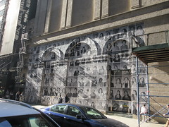 2019 Photo Mural on 45th St Jake Gyllenhaal Play Sea Wall / A Life on Broadway 1771 (Brechtbug) Tags: 2019 photo mural 45th st between 6th 7th aves wall headshots back hudson theater playing sea a life broadway set monologues about duality death recounted by two young fathers second row from bottom is jake gyllenhaal hands up snarling tom sturridge who helped with installation pasting each others likenesses onto french 2017 documentary faces places director agnes varda died march this year age 90 nyc september 09202019 new york city street