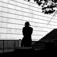 The thinking man (pascalcolin1) Tags: paris13 homme man mur wall lumière light ombre shade escalier staircase photoderue streetview urbanarte noiretblanc blackandwhite photopascalcolin 5omm canon50mm canon