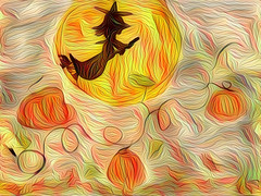 Good for an Invitation Background! (Carol (vanhookc)) Tags: digitalart deepdreamgenerator digitalprocessing halloween witch flytothemoon pumpkins