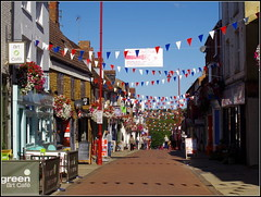Sheaf Street (Lotsapix) Tags: northamptonshire daventry shops shopping street streets bunting flags local