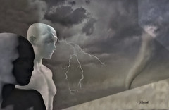 Afflatus (Ladmilla) Tags: sl secondlife afflatus theedge theedgeartgallery art gallery exhibition artgallery surrealism texturized textured mannequins lightning storm sky clouds surreal photography digital digitalart