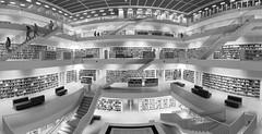 Stuttgart Library (rsthomas9) Tags: stuttgart germany deutchland library monochrome building architecture urban huawei p30