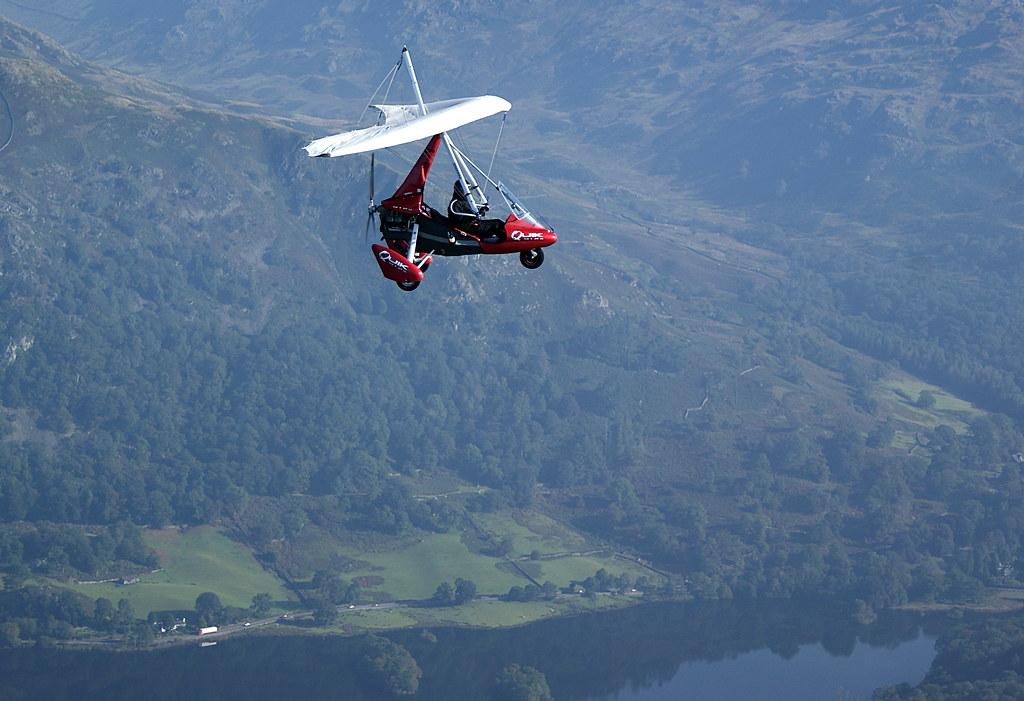 Flying into the Langdale Valley alongside Graeme