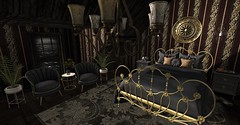 Titanic 1st class (Miru in SL) Tags: secondlife sl refuge synco spoon full sugar decor furniture bed table chairs mystical wall art tarte west village anxiety lisp apple fall funky junk
