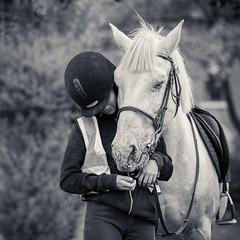 VEILA & NICKEL (James Clay Photography) Tags: bw blackandwhite england equestrianphotography gertruderidingstables horse ladybay mammal monochromatic monochrome nickel nottinghamshire splittoning nottingham