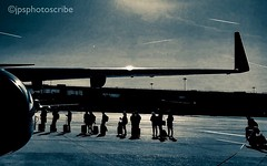 Time to fly (stewardsonjp1) Tags: baggage trolleybag suitcase holiday planesteps departure sicily plane people silhouette passengers queue tarmac aeroplane airport stansted