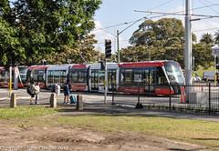Sydney Light Rail - LRVs 003 & 004 cross Lang Road (john cowper) Tags: sydneylightrail cselr moorepark alstom citadisx05 construction altrac transportfornsw transdev drivertraining testing lrv011 lrv012 lrv027 lrv028 lrv023 lrv024 lrv037 lrv038 sydney newsouthwales