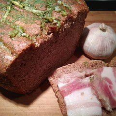 rye bread with garlic and herbs and a slice of pork lard (Sankab) Tags: food russianfood russiankitchen kitchen bread ryebread garlic lard pork becon deliciously