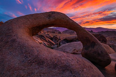 A Mobius Arch Sunrise. Alabama Hills Near Lone Pine, California (RS2Photography) Tags: alabamahills lonepine natur photography ross stone nature photo naturephotography landscape sunrise colours colors colourful arch natural mobiusarch mobius canon 2019 home canon80d owensvalley red clouds cloudy inyo inyocounty smugmug flickr sky california cali rs2photography new light art eos