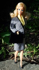 "Barbie Cool Career ""Business Woman"" #5789 from 1991 (VintageZealot) Tags: barbie mattel daytonight day to night 1984 1980s 80s 7929 cool career 1991 1990s 90s business woman working girl vintage retro fashion doll clothing clothes outfit model modelling blonde caucasian white superstar super star taiwan velcro suit blazer jacket coat skirt houndstooth scarf shirt top blouse pumps briefcase suitcase brief case black yellow leather pleather vinyl faux jewelry gold ring earring earrings 5789"