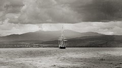 sailing ship vanagart 2019 scotland jpg (vanagART) Tags: ship sailingship inverness scotland scotlandseaside higlands monochromephotography vintagephoto blackandwhite prints printsforsale affordableprints photoart wallart framedprints vanagart photographersinlondon professionalphotography mountains clouds sky landscape