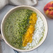Matcha and Peach Oatmeal with Coconut