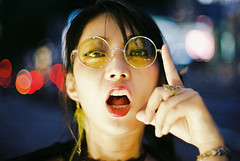 (maxwellkimi) Tags: analog film color friends night bokeh girl japan fujifilm