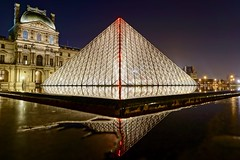 Le louvre - pyramid with neon bolt, Paris, France (Romain Pontida) Tags: pyramid museum palace oldandnew contemporaryart temporary
