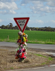 Somebody Didn't ..... (mikecogh) Tags: intersection crash accident sign death flowers memorial field roseworthy