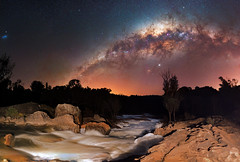 Milky Way at Dwellingup Rapids, Western Australia (inefekt69) Tags: milky way dwellingup rapids murray river lanepoolereserve westernaustralia australia great rift panorama stitched msice landscape wide astrophotography astronomy stars galaxy galactic core space small magellanic cloud night nightphotography nikon 35mm d5500 dslr long exposure perth southern southernhemisphere cosmos cosmology outdoor sky water ioptron skytracker tracked nature airglow milkyway