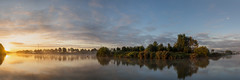 Working with the sunlight. (In Flanders Fields Photography) Tags: sunrise sunshine sunbeam naturallight composition panorama reflection water canal island nature landscape moon clouds mist fog tree trees ngc