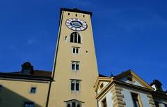 Regensburg - Quarter to Four (cnmark) Tags: germany bayern deutschland bavaria regensburg old tower clock architecture cityhall alt himmel medieval architektur rathaus blauer rathausplatz uhrturm mittelalterlich blue sky ©allrightsreserved
