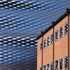 Lost in the ether (Arni J.M.) Tags: architecture building lostintheether wall metal weave brick windows glass reflection herzogdemeuron messebaselnewhall basel switzerland