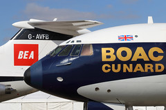 Nose to Tail (Treflyn) Tags: nose tail classic british european airways overseas airline corporation airliner bask sun duxford hawker siddeley trident two gavfb bea livery vickers super vc10 gasgc boac cunard scheme