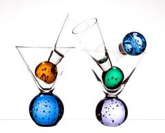 Bubble Glass (Karen_Chappell) Tags: bubbles bubble round circle glass white blue purple green orange glasses stilllife product colour color colors colours colourful multicoloured five 5 martini shape shapes triangle lines