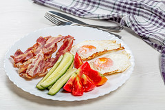 Fried eggs, bacon and pieces of fresh tomatoes and cucumbers. The concept of Breakfast (wuestenigel) Tags: egg unhealthy smoked slice dish knife background snack fat chicken delicious cooked streaky white crispy fork tomato cooking breakfast thin plate bacon omelet gourmet meaty rashers food pork fried ingredient cucumber meat strips sliced tasty vegetables 2019 2020 2021 2022 2023 2024 2025 2026 2027