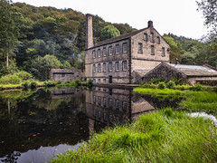 Gibson Mill and Pond (Ian M Bentley) Tags: 19thcentury nationaltrust hardcastle cottonmill gibsonmill hardcastlecraggs 1800c woodland olympus historic rapids glorious streams beautyspot tumbling omd hebdenbridge southpennines zuikolens em1ii zuiko12200 autumn england leaves wideangle september telephoto westyorkshire zoomlens megazoom m43 12200mm microfourthirds zuiko12200mm 24400mm uk plants lake water creek river landscape pond outdoor foliage serene millpond waterscape stillwaters crystalclear light chimney reflection reflections smoke midgehole hebdenbeck
