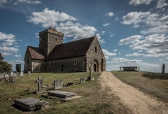 St Martha on the hill (James Waghorn) Tags: path surrey tree topazclarity sonyrx100m3 gravestone church summer clouds england desaturated hill track