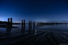 'Night Vapours on The Forth' (john&mairi) Tags: nighttime night stars tidal mudflats piers railway disused forth river swingbridge alloa throsk
