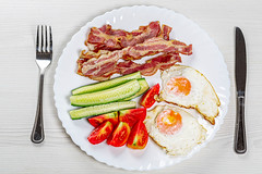 Top view Breakfast with scrambled eggs, bacon and vegetables (wuestenigel) Tags: egg unhealthy smoked slice dish knife background snack fat chicken delicious cooked streaky white crispy fork tomato cooking breakfast thin plate bacon omelet gourmet meaty rashers food pork fried ingredient cucumber meat strips sliced tasty vegetables 2019 2020 2021 2022 2023 2024 2025 2026 2027