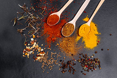 Spices in wooden spoons and scattered on a black background. Top view (wuestenigel) Tags: spice asian spoon natural wooden old pepper spices vintage chili background indian red pepperpeas paprika aromatic food colorful spicy seasoning powder turmeric curry black cuisine coriander yellow ingredient kitchen noperson keineperson pulver pfeffer essen desktop dry trocken cooking kochen würzen stilllife stillleben color farbe texture textur wood holz kurkuma löffel hot heis leaf blatt dark dunkel condiment würze saffron safran 2019 2020 2021 2022 2023 2024 2025 2026 2027