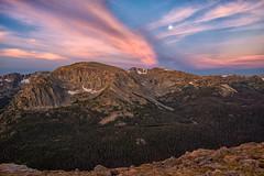 Moonset at Sunrise (RkyMtnGrl) Tags: landscape nature scenery vista mountains clouds sunrise moonset moon peaks tundra canyon forestcanyonoverlook trailridgeroad rmnp colorado 2019