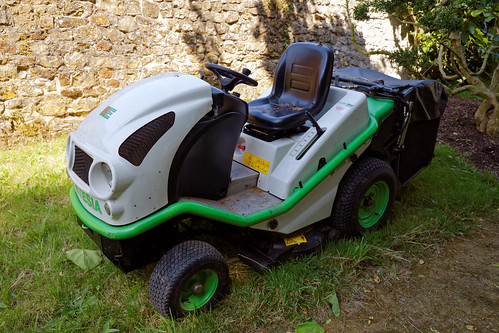 An Etesia brand ride-on lawn mower at Parham Park, West Sussex, England