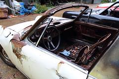 Photo of A burnt out Porche car at Hatfield Broad Oak Essex England