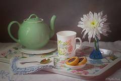 Still life morning tea (Phyllis Freels) Tags: phyllisfreels blue cookies cup flower green napkin spoon stilllife teapot tray vase white
