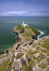 South stack III (John Joslin) Tags: anglesey south stack wales sea ocean water sky clouds longexposure lighthouse rocks outdoors outside steps coast coastline coastal shore horizon shoreline grass path loxia2821