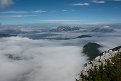 At peace with the world (LB1415) Tags: alpine valley ridge rocks september autumn fog pentax k200d rawtherapee blue sky walking julianalps slovenia europe lb1415 allrightsreserved cloud landscape nature mountaintop zen peace interesting clouds mountain peaks