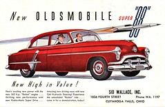 "1952 Oldsmobile Super ""88"" Four-Door Sedan (aldenjewell) Tags: 1952 oldsmobile super 88 fourdoor sedan postcard"