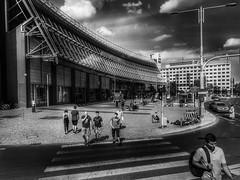 at a pedestrian crossing (wojciechpolewski) Tags: streetphoto street streetsnap streetlife streetshot blanconegro blackwhite photos photo poland schwarzweis