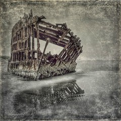 Wreck of Peter Iredale, Oregon - re-edited (gks18) Tags: canon iphone iphoneapps oregon oregoncoast shipwreck coast beach rust reflection outside
