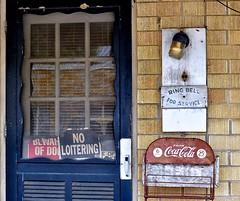 Ring Bell For Service - Ola, Arkansas (Rob Sneed) Tags: usa arkansas ola smalltown mimasmotelandcafe office cocacola nightbell signs bewareofdog noloitering americana vintage