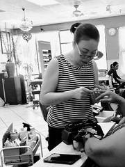 Attention to detail (yesitsfascinating) Tags: blackandwhite bw saturday nails spa iphonography shotoniphone