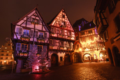 IMG_8674 (Bartek Rozanski) Tags: alsace christmas city cobblestone colmar decoration door facade france house night purple square street timberframing tree vosges window winter
